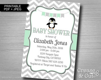 Penguin Baby Shower Invitation Baby Sprinkle Personalized Digital Printable Invitation in Mint Green Gray PDF and JPEG 4x6 inch or 5x7 inch