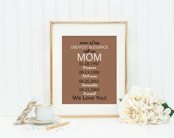 Gift From Grandkids, Personalized Gift for Grandparent, Mothers Day Print, Gift For Grandma, Gift For Mom