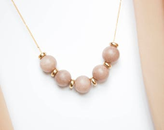 Rust Brown Moonstone Jade and Brass Necklace