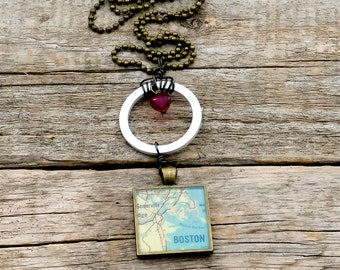 SALE! 25 and under SALE!  | boston vintage map necklace | boston necklace | traveler | geography