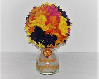 "6"" Wedding Pomander Ball  Wedding table Decor wedding centerpiece Kissing Ball orange flower arrangement  silk flower centerpiece"