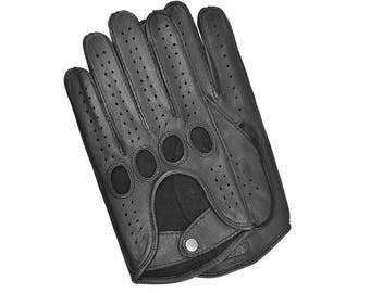 Black Leather Driving Gloves for Man