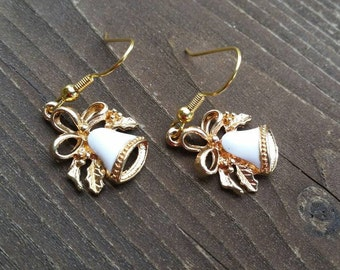 Little Gold and White Bells Charm Earrings with Bow Womens Jewelry Valentine Dangle Earrings Mothers Day Gifts Christmas Holiday Accessories