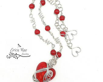 Red glass heart wire wrapped necklace,  glass heart necklace,  wire wrap jewelry, romantic heart jewelry, gift for her, valentine