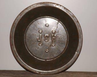 """Unique vintage pie tins,metal pie plates,vents for even baking,rusty pie tins,vintage baking,9"""" pie plate,metal pie tins,JCH,vented,rare"""