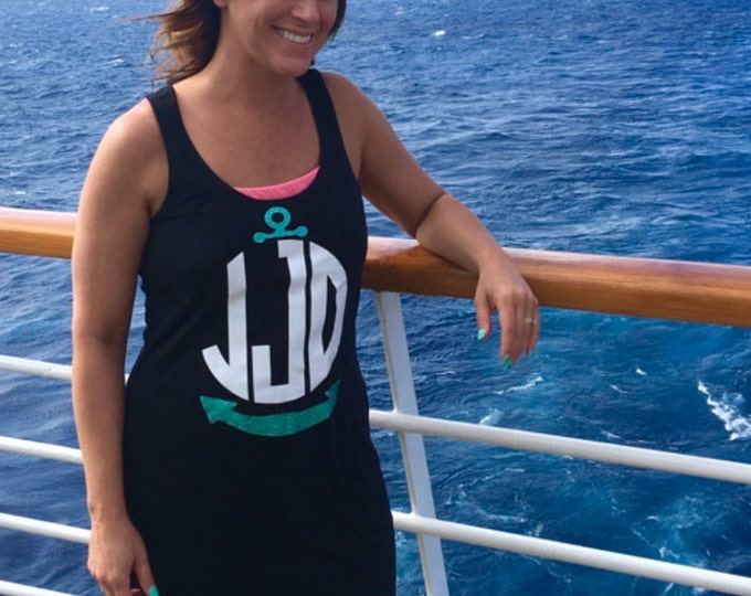 Nautical Swimsuit Coverup, Tank Dress, Anchor Monogram Swimsuit Coverup, Bridesmaid Gifts, Cruise Tank Dress, Bachelorette Party