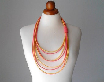 Rope necklace cord necklace long necklace statement boho long necklace long statement necklace yellow necklace coral necklace cotton jewelry