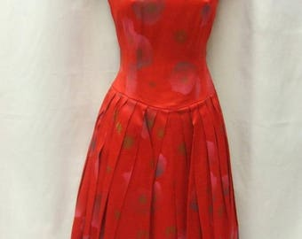 1950s - Red Floral Satin Dress with Petticoat - Size 12 - Vintage