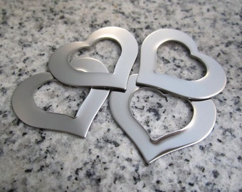 "1 1/4"" x 1"" (32mm x 25mm) Heart Washer Stamping Blank, 22g Stainless Steel - AWESOME Silver Alternative HW10-08"