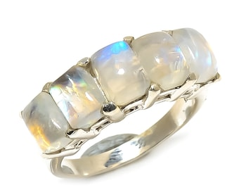 Natural Rainbow Moonstone Square Gemstone Ring 925 Sterling Silver R1055
