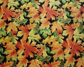 Fall Leaves-Black B/G-Blank Quilting-BTY