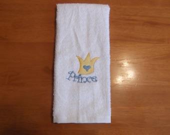 Embroidered ~PRINCE CROWN~ Bathroom Hand Towel
