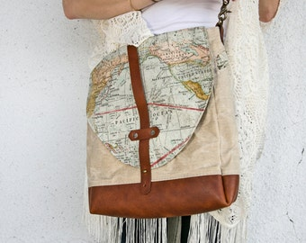 Expedition Mini Hybrid,  purse, map bag, map crossover, map crossbody, map gifts, cartography gifts, travel bag, crossbody bag, leather bag