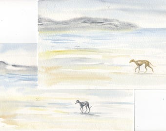 Pair of ORIGINAL WASH PAINTINGS of Whippet greyhound ... a Watercolor Paintings