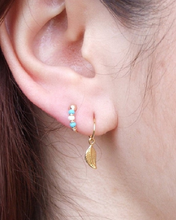 8mm Gold Cartilage Hoop Earring for 2nd and 3rd ear piercings