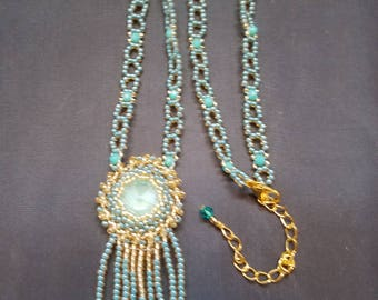 Turquoise Rivoli Beaded Fringe Necklace