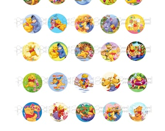 Winnie the Pooh Bottle Cap Images, 30 digital images
