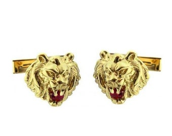 14k Gold Lion of Judah Ruby Cufflinks