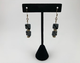 Handmade dangle earrings with Czech glass and copper beads