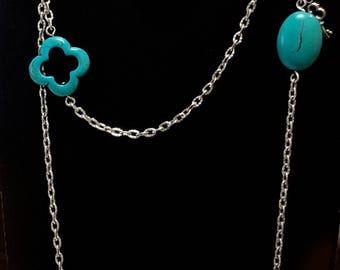 Blue Turquiose Howlite Clover Bead Necklace