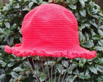 Baby Sun Hat - Red Baby Sun Hat -  Hand Crochet Hat