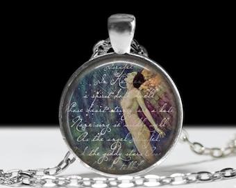 Edgar Allan Poe Necklace  Art Poe  Necklace Steampunk Jewelry Israfel Necklace Poe Jewelry