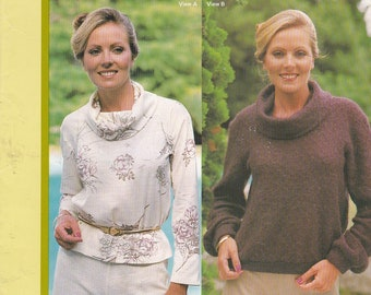 1970's Sewing Pattern - Knitwit 1000 Cowl Neck Top with Extended Shoulder Size 6 - 22 Factory folded and complete