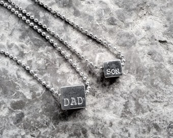 Father/Son pewter cube stamped pendant necklaces, Set, 2 different sized cubes Stamped with DAD and SON, Father Son Gift