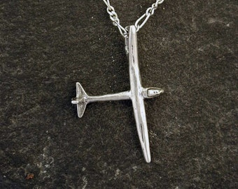 Sterling Silver Original Glider Sailplane Pendant on a Sterling Silver Chain.