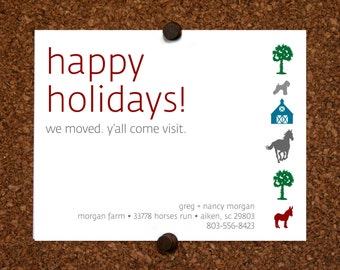 We Moved Cards. South Carolina. North Carolina. Happy Holidays We Moved Come Visit Postcard. Custom. Personalized (Set of 10)