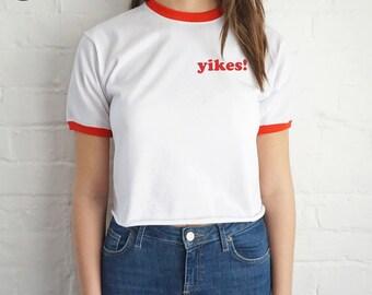 Yikes! Pocket Crop Ringer Top Shirt Tee Cropped Fashion Blogger Tumblr Retro
