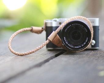 Round Braided Leather Camera Wrist Strap (Beige) for Mirrorless Camera Leica Olympus Canon Nikon Fuji Sony Panasonic Pentax