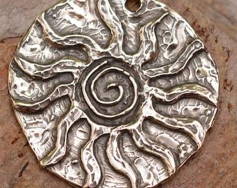 Big Sacred Spiral Sun Pendant in Sterling Silver, PN-327