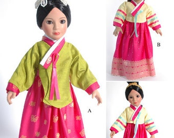 """Historical 18"""" Doll Clothes Pattern for Korean Hanbok and Dangui Outfits in 2 Sizes, American Girl Dolls and Slim 18"""" Carpatina dolls"""