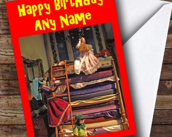 Princess And The Pea Personalised Birthday Card