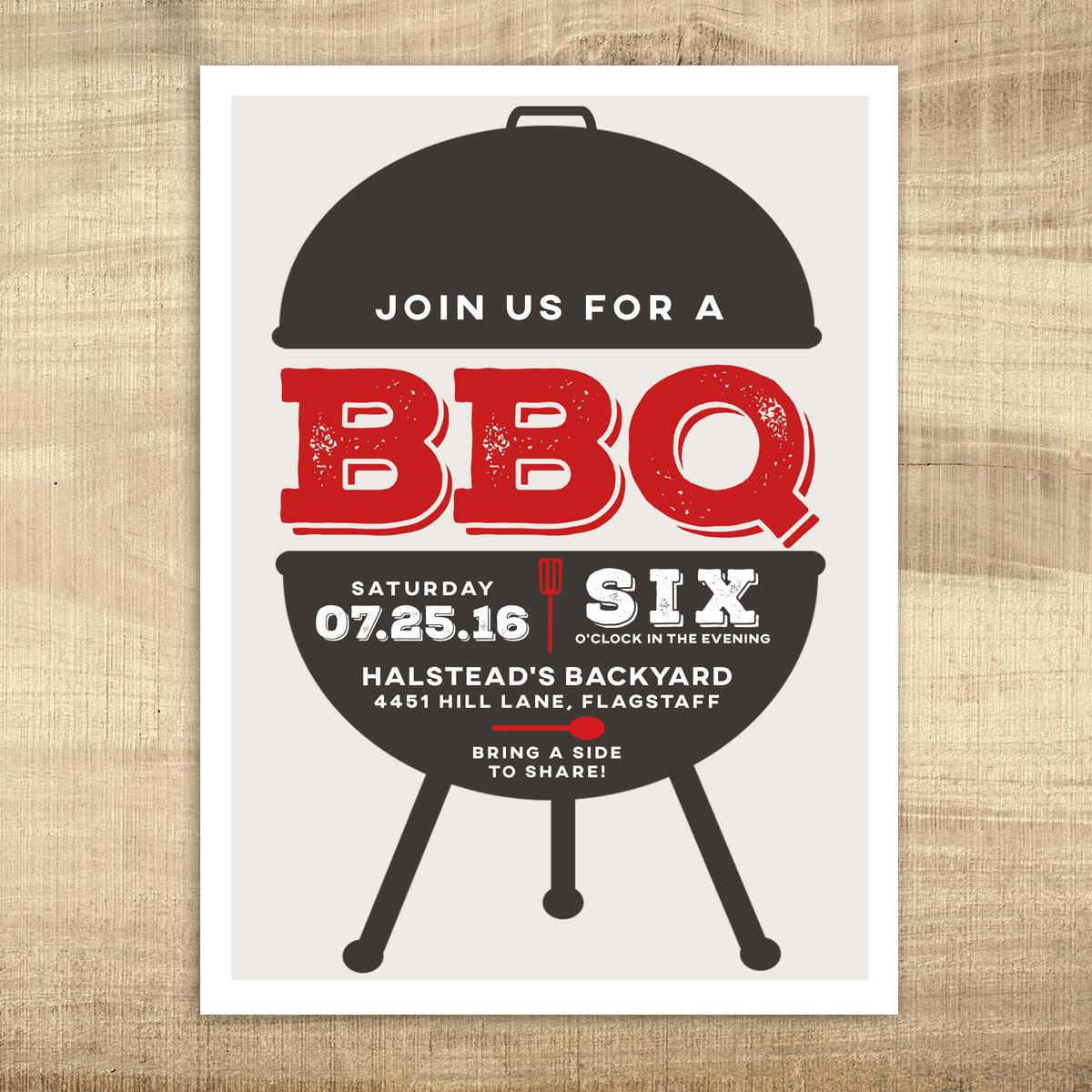 Printable Summer BBQ Invitation Backyard BBQ Invitation