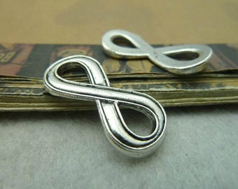 20 pcs  13x29mm Antique Silver Infinity Charms Connector