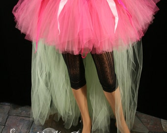 Spring fairy Adult tutu skirt party costume gypsy hi low short long pink green halloween fae -- Small -- READY TO SHIP -- Sisters of the Moo