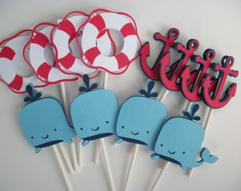 24 Nautical Cupcake Toppers Nautical Baby Shower Nautical Birthday Party Whale Baby Shower Whale Cupcake Topper Anchor Topper • Set of 24