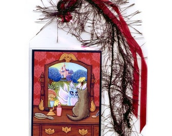Fairy Cat Bookmark Victorian Chimera Vanity Bookmarker Gray Cat Fantasy Cat Art Mini Bookmark Cat Lovers Gift