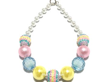 Toddler or Girls Pastel Chunky Necklace - Pink, Yellow, Purple and Turquoise Chunky Necklace - Easter Necklace - Pink and Yellow Necklace
