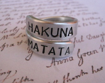 Hakuna matata ring, BEST Quality, Disney, Fathers Day, Personalized ring, gifts for best friends, mens gifts, Graduation gift, Boyfriend