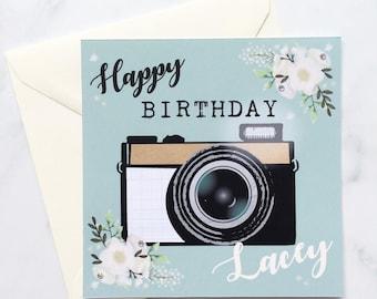 Pretty birthday card etsy camera card photography birthday card personalised camera card card with camera pretty bookmarktalkfo Image collections