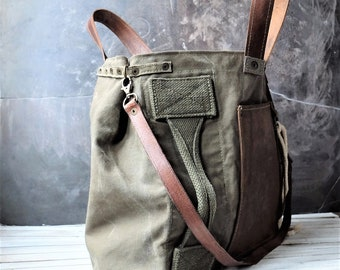 Recycled military canvas bag, oiled cowhide leather,, Crossbody bag from recycled military elements French Upcycled