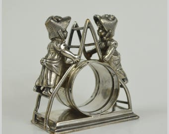 Figural Napkin Ring Rare Antique Late 1800s A+ Greenaway Twin Girls on Ladder Quadruple Silver Plate by Simpson Hall Miller & Co