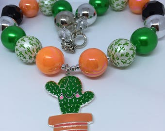 Kawaii Happy Cactus Alloy Pendant Chunky Necklace Chunky Bead Necklace, Bubblegum Necklace Potted Plant Arizona Desert