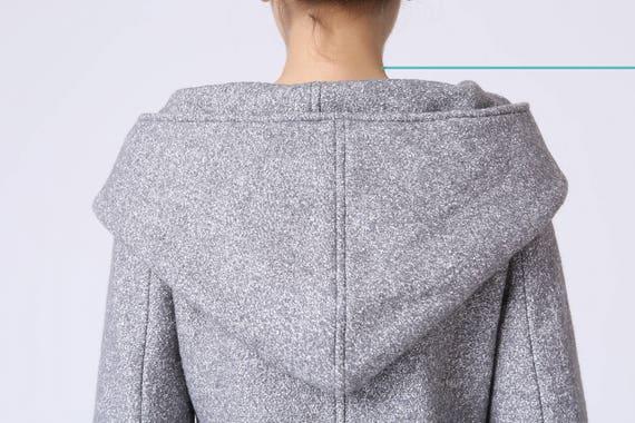 coat hood winter coat wrap coat pocket coat Asymmetrical wool mini 1060 winter womens coat coat Gray women coat coat coat coat qEwXO