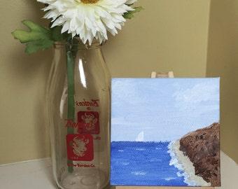 The shoreline, mini 3x3 original acrylic painting