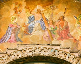 Italy photography - Fresco at St. Mark's Basilica - Venice, Italy - Fine art travel photography - gold, taupe, pink, blue