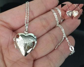 Large - All Sterling silver Heart Locket Necklace, Love charm Necklace, heart necklace, holiday gift, locket necklace